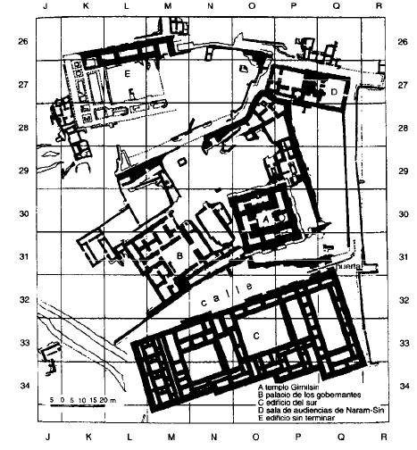 Planta del barrio administrativo de la ciudad de Eshnunna,  periodo Isin-Larsa