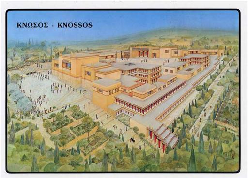 Reconstrucción del aspecto que debía tener el palacio de Cnoso, o Knossos