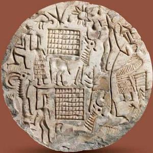 Sello comercial hallado en Dilmun con figuras humanas y animales
