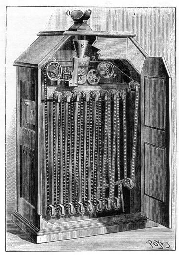 Aspecto que debía tener el kinetoscopio cuando fue patentado
