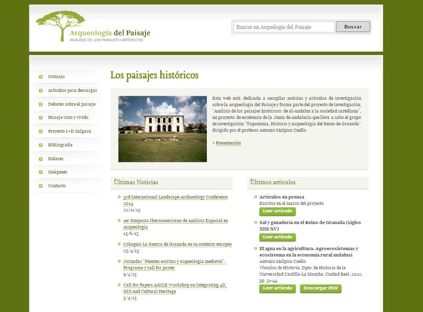 Captura de pantalla de esta gran web de arqueología del paisaje