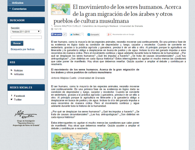 Captura de pantalla de uno de los artículos de esta gran web de arqueología medieval