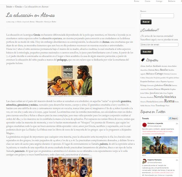 Captura de pantalla de uno de los artículos de esta gran web de Historia antigua