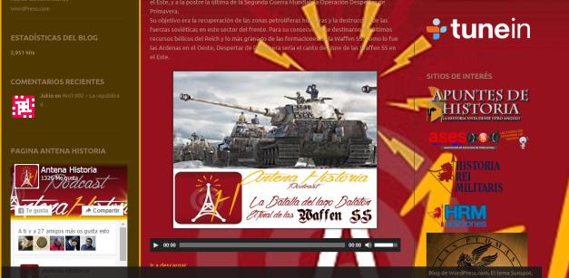 Captura de pantalla de uno de los podcasts de este gran blog de Historia militar