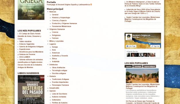 Captura de pantalla del mapa de este gran sitio acerca de nuestros orígenes históricos y mitológicos