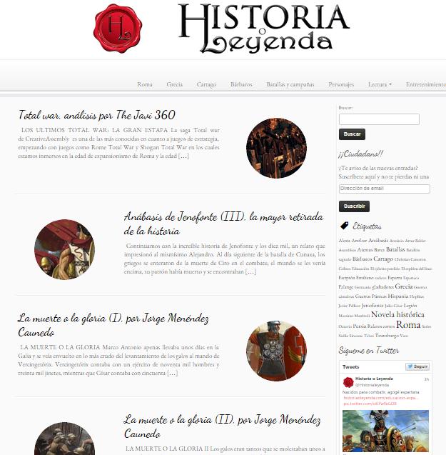 Captura de pantalla general de esta gran web de historia clásica de Grecia y Roma