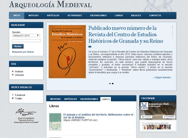 Captura de pantalla general de esta gran web sobre arqueología de la Edad Media