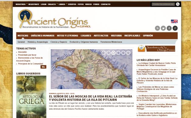 Captura de pantalla general de este gran blog de nuestros orígenes históricos y mitológicos