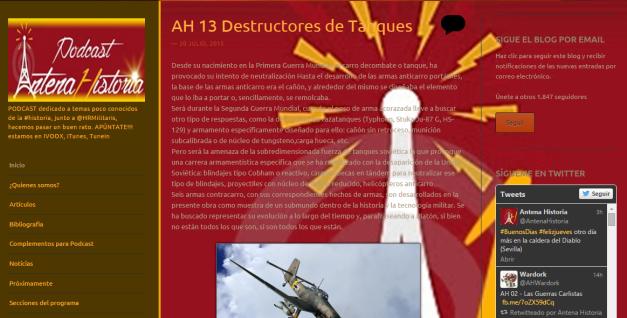 Captura de pantalla general de este gran blog de podcasts de Historia militar