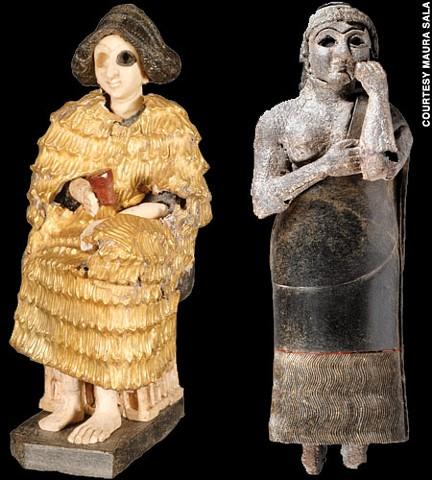 Figuritas divinas halladas en Ebla, pertenecientes al Bronce Medio sirio