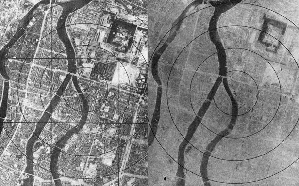 Hiroshima vista desde el aire antes y después de caer la bomba atómica