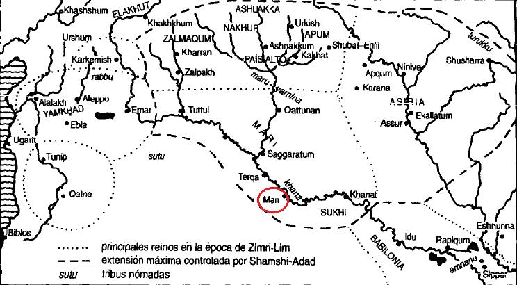 Mapa de la Alta Mesopotamia y Siria Palestina durante la Edad de Mari