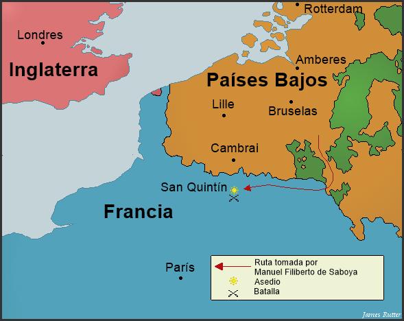 Mapa explicatorio de la Batalla de San Quintín en Francia