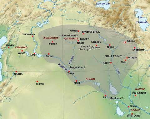 Mapa que muestra la extensión aproximada de Asiria poco antes de la muerte de Shamsi-Adad
