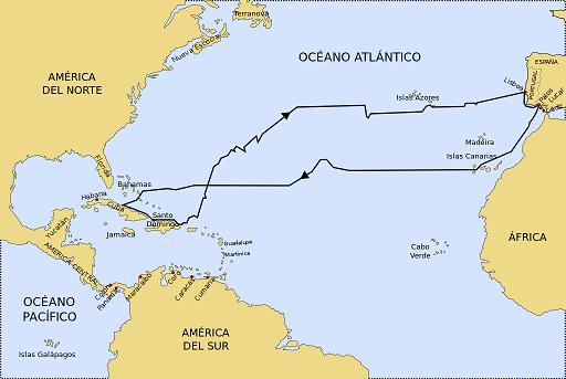Mapa que muestra la ruta seguida por Colón en su primer viaje a América