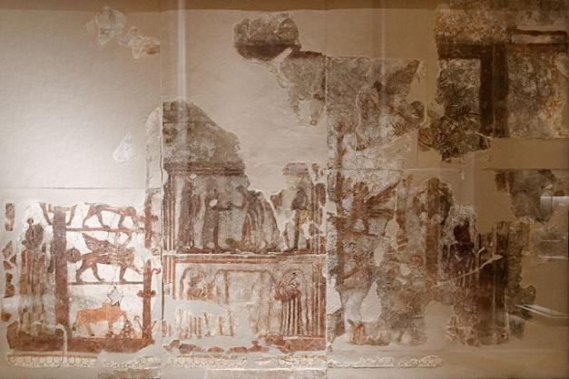Mural del palacio de Mari atribuido al supuesto hijo de Yakhdun-Lim, Zimri-Lim