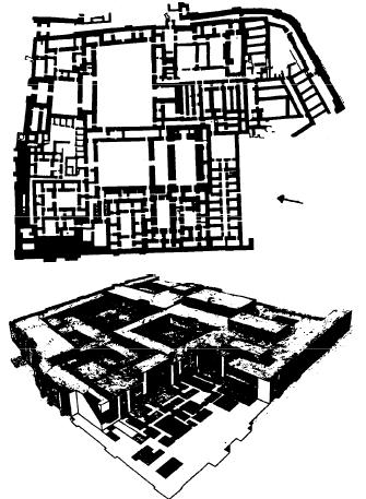 Planta y reconstrucción del palacio de Mari