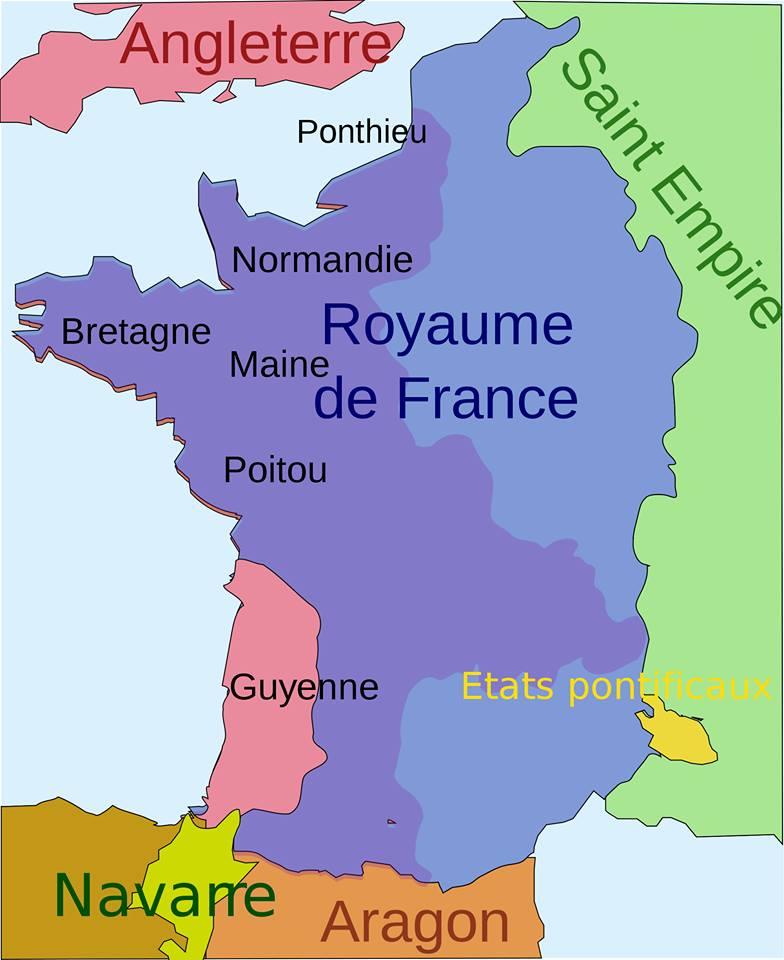 Mapa en francés con la extensión del reino francés en los tiempos anteriores a la guerra de los cien años
