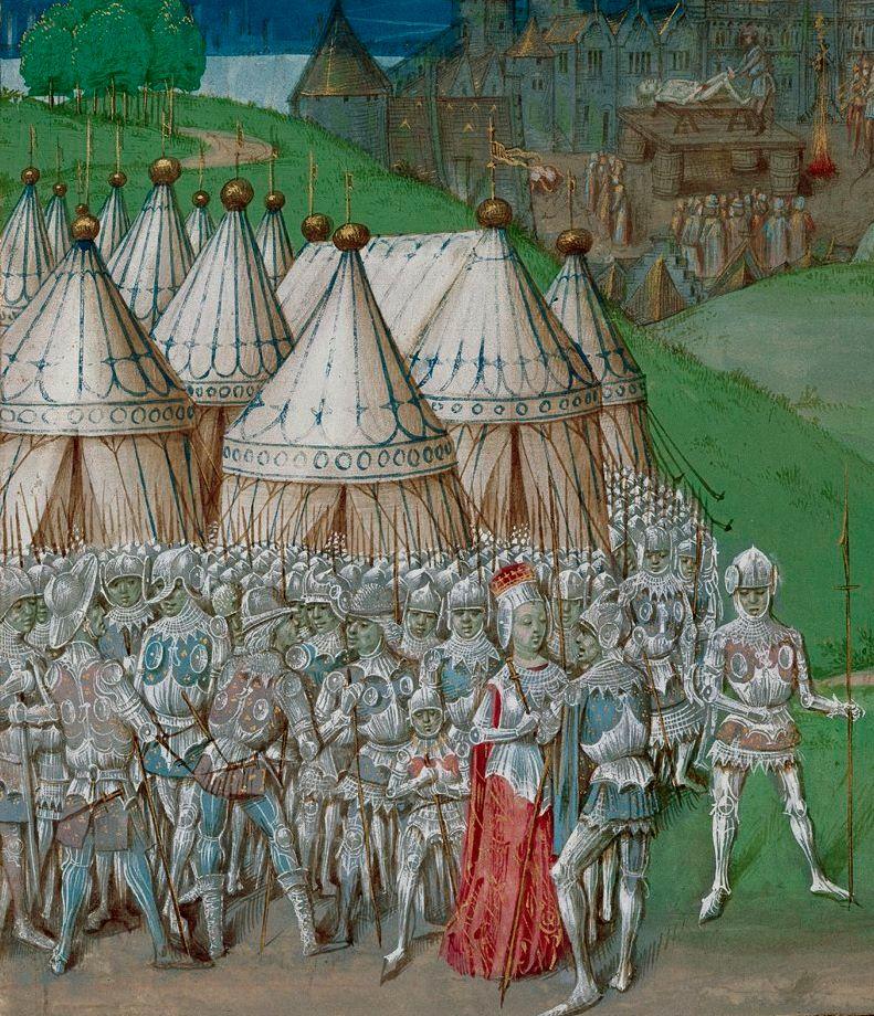 Representación de Isabel de Francia y su amante, Roger Mortimer. Siglo XV.