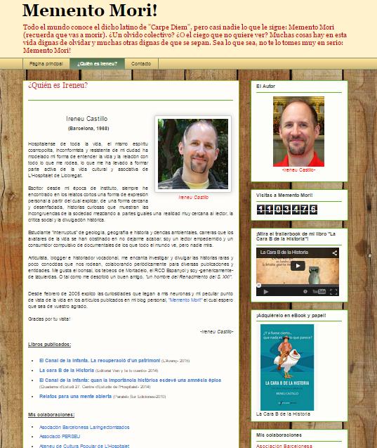 Captura de pantalla de la página de bienvenida de este gran blog