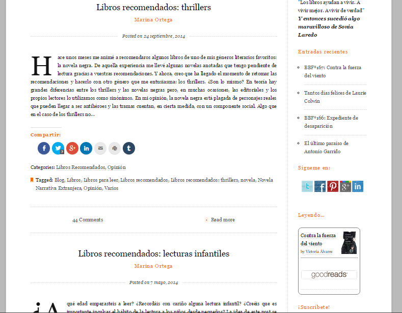 Captura de pantalla de una de las secciones de este gran blog de literatura