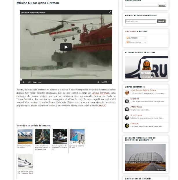 Captura de pantalla de uno de los artículos de este gran blog de curiosidades de Rusia