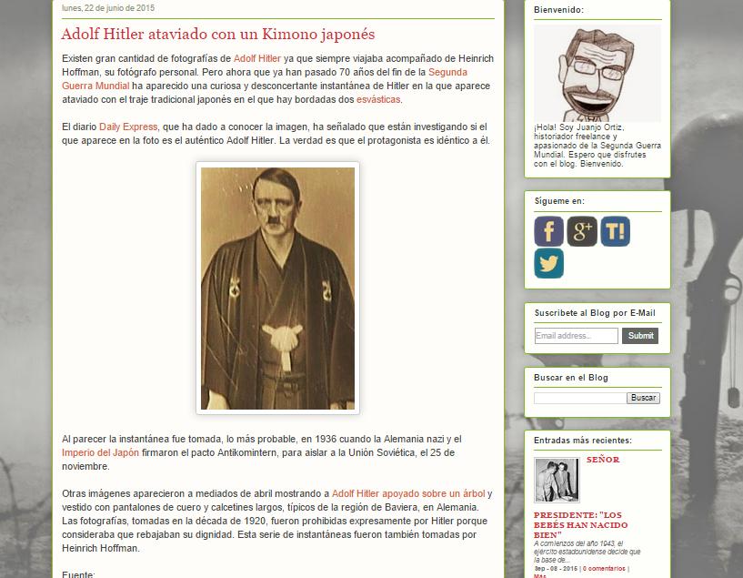 Captura de pantalla de uno de los artículos de este gran blog de la segunda guerra mundial
