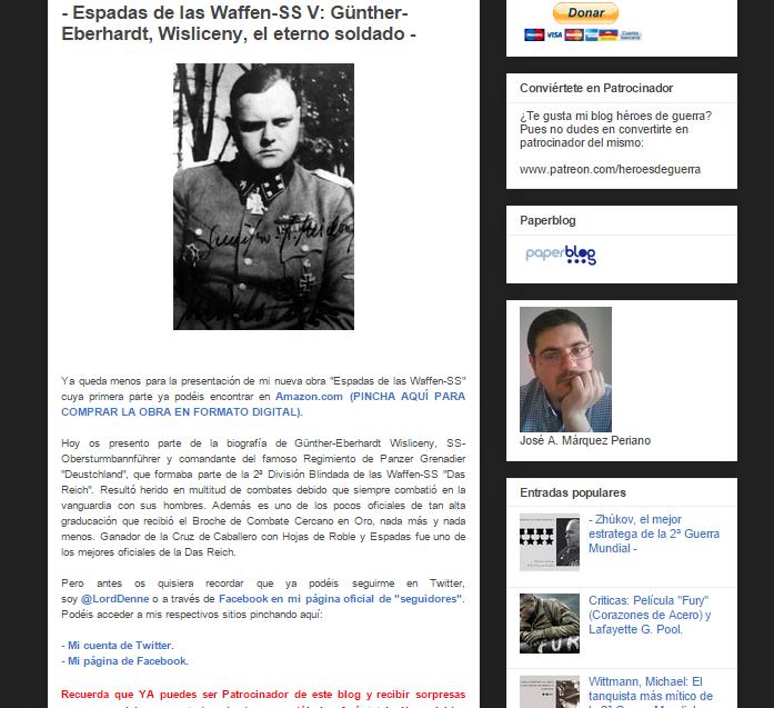 Captura de pantalla de uno de los artículos de este gran blog militar
