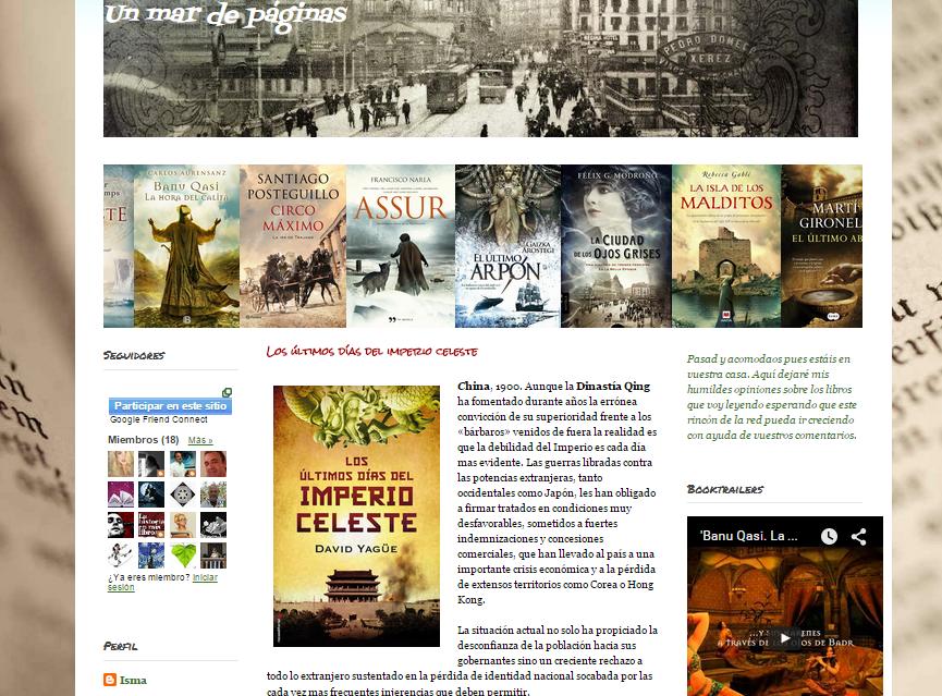 Captura de pantalla del otro de estos blogs literarios
