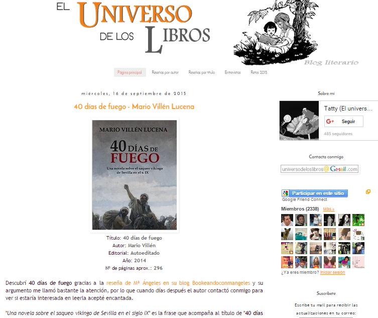 Captura de pantalla del primero de estos blogs literarios