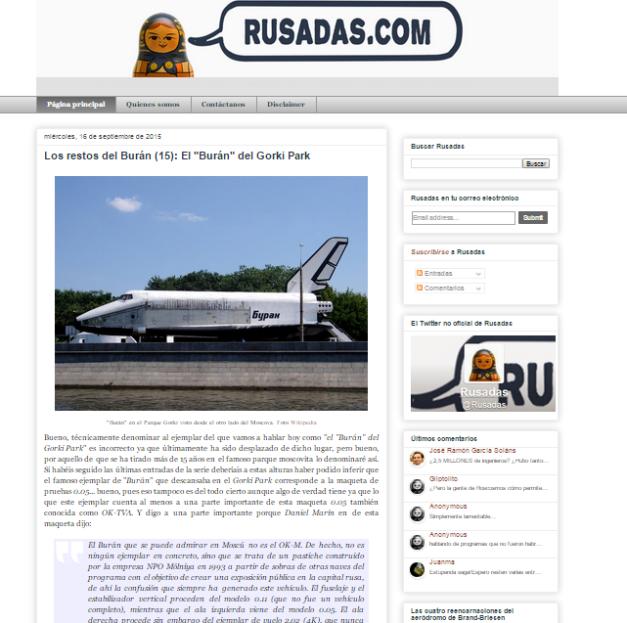 Captura de pantalla general de este gran blog de curiosidades de Rusia