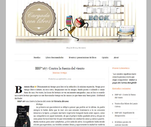 Captura de pantalla general de este gran blog de literatura