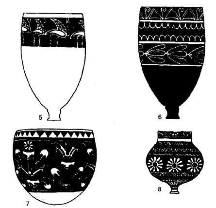 Dibujos hechos a partir de ejemplos reales de cerámica de Mittani