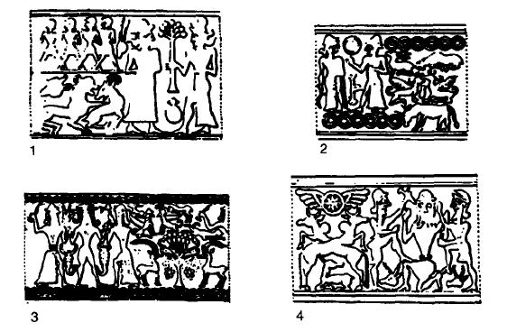 Dibujos hechos a partir de ejemplos reales de glíptica de Mittani