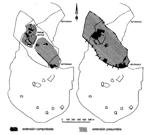 Extensión de Hattusa en el siglo XIX (izquierda, colonias paleoasirias) y en el siglo XVI (derecha, reino antiguo hitita)