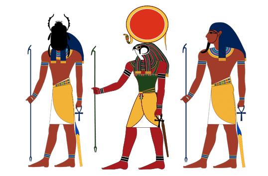 Imágenes de las tres representaciones de Ra dependiendo del momento del día
