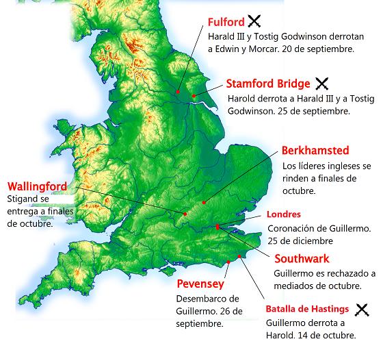 Localización de los principales eventos de la conquista normanda de Inglaterra
