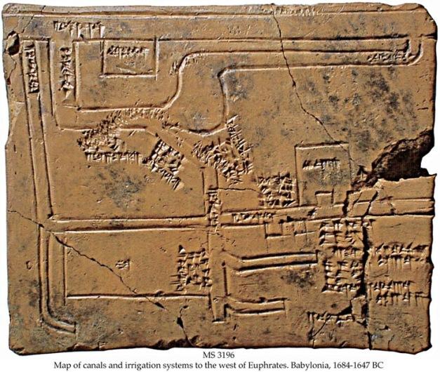 Mapa de los canales de irrigación del río Eúfrates, primera mitad del siglo XVII a.C.