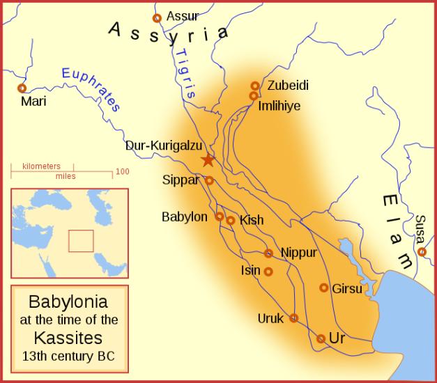 Mapa que muestra la Babilonia que heredarían los casitas varios siglos después de Hammurabi