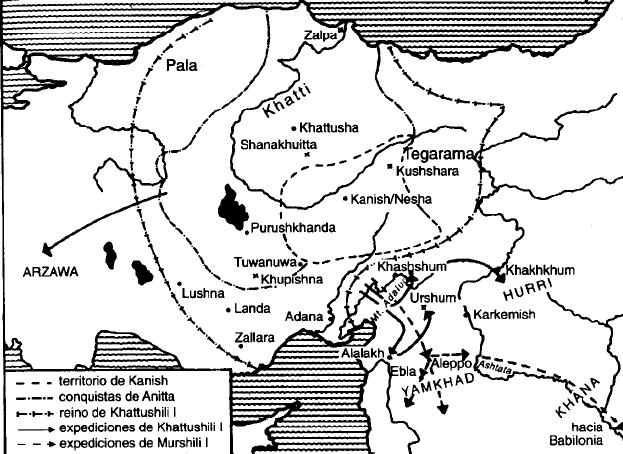 Mapa que muestra la formación del reino antiguo hitita
