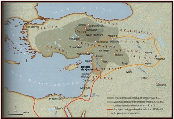 Mapa que muestra las fronteras intertemporales de los hititas y sus vecinos más próximos