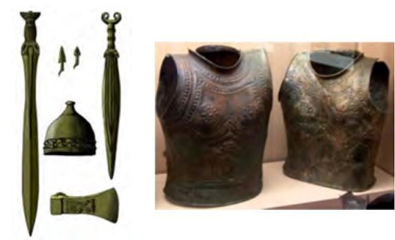 Parte del equipamiento de una armadura de la Edad del Bronce Final