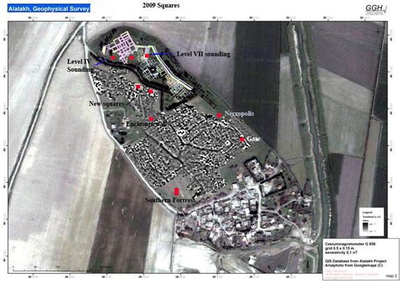 Plano satélite mostrando las distintas partes del yacimiento de Alalakh