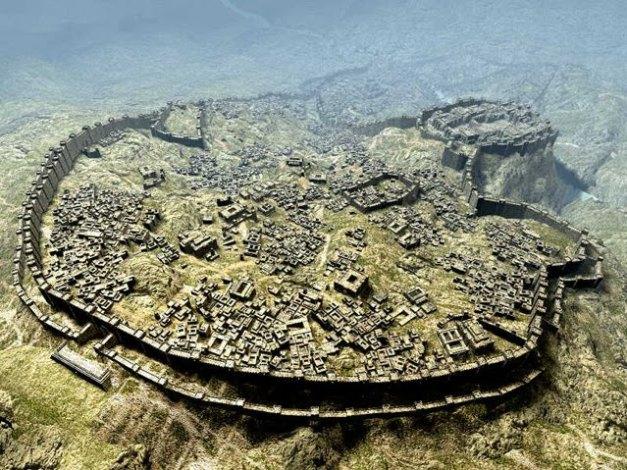 Reconstrucción aproximada del aspecto de la ciudad de Hattusa, capital de los hititas