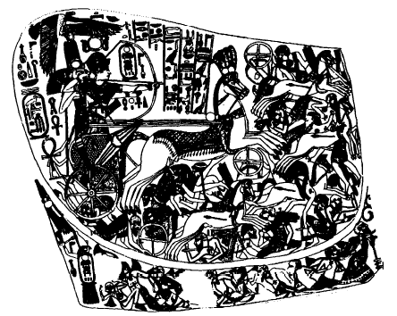 Tutmosis IV de Egipto venciendo a sus enemigos sobre un carro de guerra