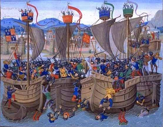 La Batalla de Sluys (1340),según una miniatura del siglo XV de la Crónica de Jehan Froissart