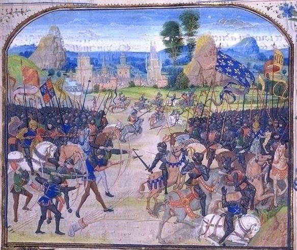 La Batalla de Poitiers (1356),según una miniatura del siglo XV de la Crónica de Jehan Froissart