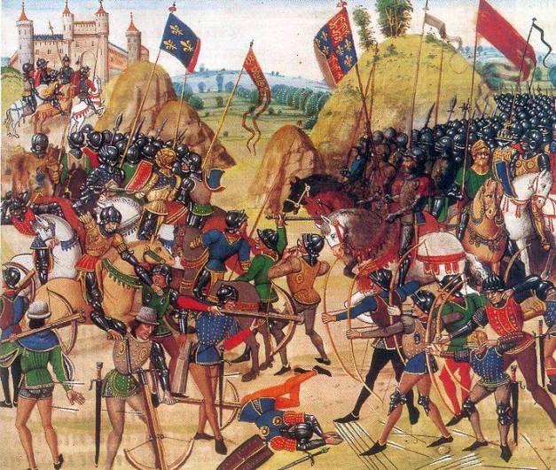 La Batalla de Crecy (1346), según una miniatura del siglo XV de la Crónica de Jehan Froissart