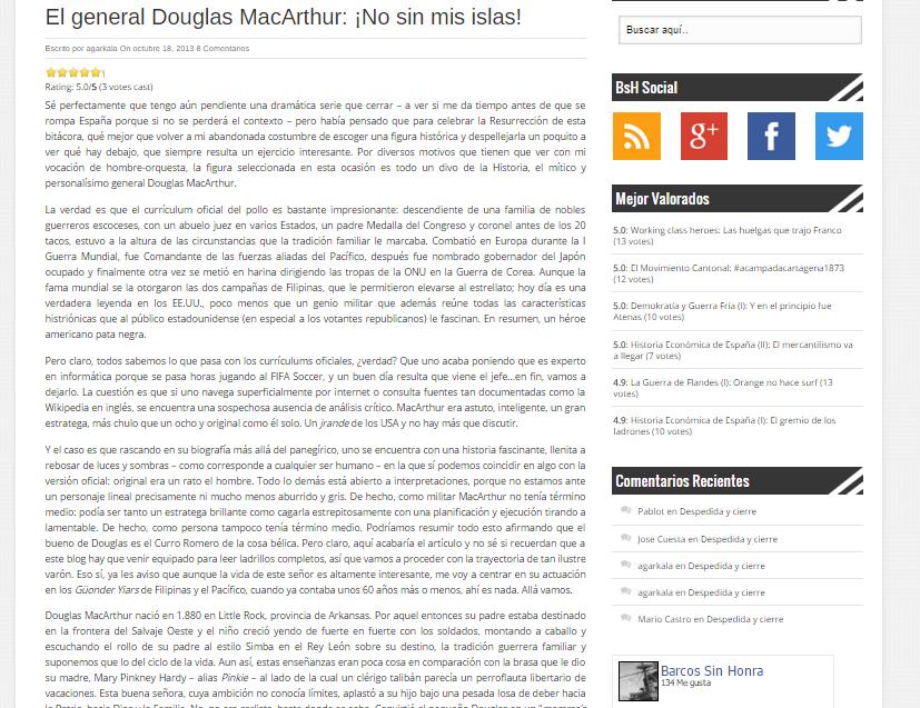 Captura de pantalla de uno de los artículos biográficos de esta gran web