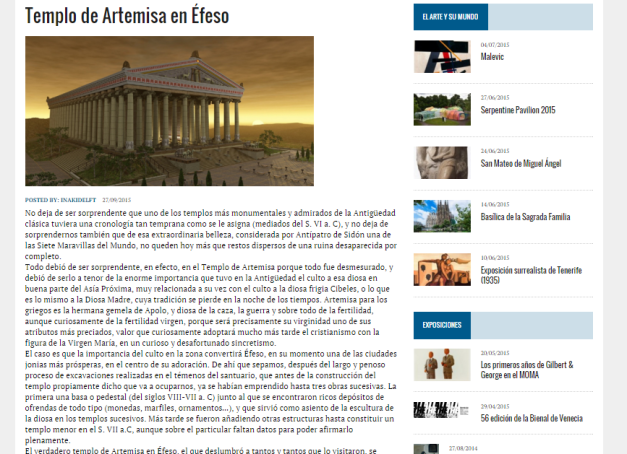 Captura de pantalla de uno de los artículos de esta gran web de Historia del Arte